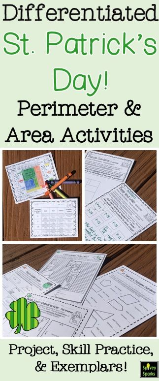 Students are engaged in this Saint Patrick's Day area and perimeter project, skill practice, and St. Patrick's Day exemplar math activities.  These worksheets are differentiated to meet the needs of your third and fourth grade students.  Come take a look!