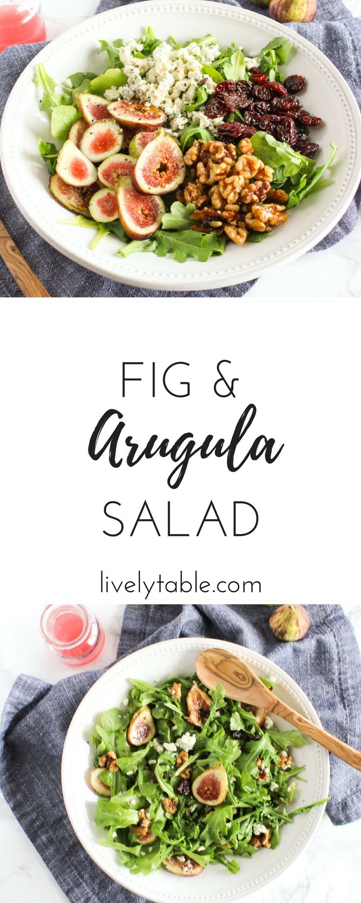 A delicious fig and arugula salad with dried cherries, gorgonzola and candied walnut is a healthy and indulgent salad that is perfect for transitioning to fall. (gluten-free, vegetarian) via livelytable.com