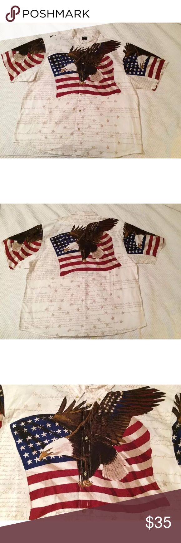 """Man's s casual shirt size M """"American Flag"""" Show your American spirit by wearing this beautiful patriotic shirt.  New with tag, 100% Cotton in Size Medium: 22"""" from armpit to armpit 10 1/2"""" from top of shoulder to end of sleeve  31"""" long from back of collar to bottom of the shirt.  Thanks! cotton traders Shirts Casual Button Down Shirts"""
