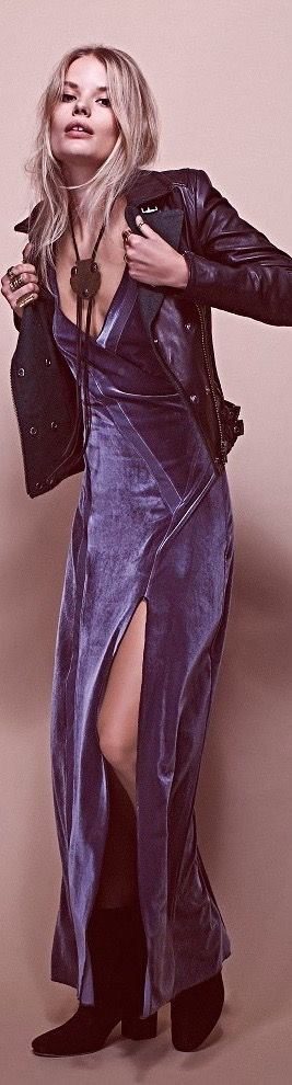 boho style, velvet dress, leather jacket, necklace, long hair, split skirt, blue velvet, boho fashion, women's fashion