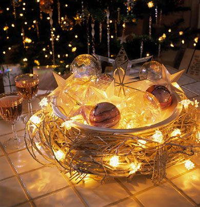 123 best christmas centerpieces images on pinterest christmas christmas centerpiece let it glow using a bowl surrounded by a wreath wrapped in lights junglespirit Gallery
