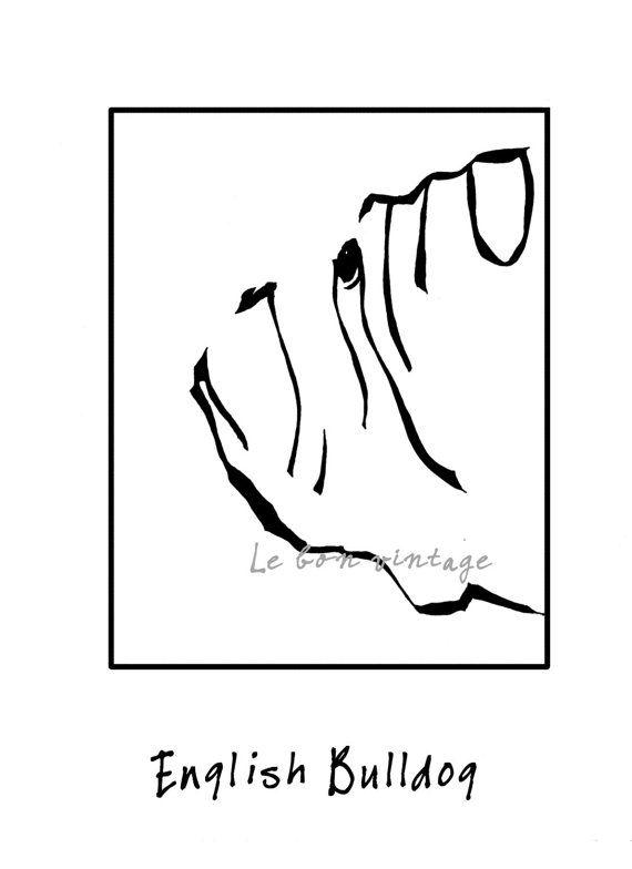 INSTANT DOWNLOAD Dog art English Bulldog print black white 8,5x11 jpg and png