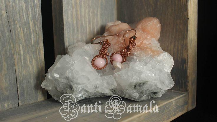Morganite and copper earrings/copper earrings/wire wrap/wire wrapped earring/earring handmade/mystic jewelry/bohemian jewelry/stone jewelry by ZantiKamala on Etsy