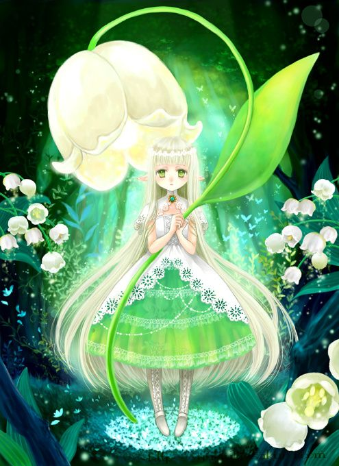 Forest #Fairy - A fairy who lives quietly in a forest. By lighting up a Lily of the Valley lamp, they beautifully illuminate the deep forest.