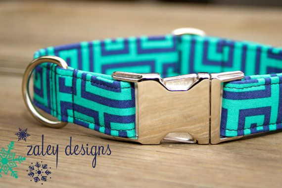 Dog Collar in Turquoise and Navy for Female or Girl dog with metal buckle on Etsy, $25.00
