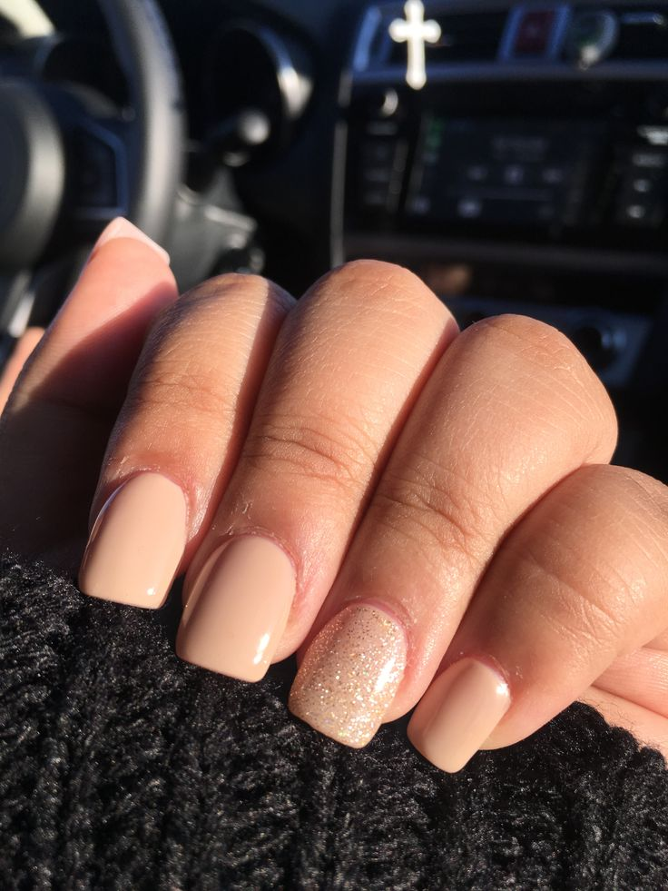 Nude acrylic nails with glitter 2017 Squoval nails