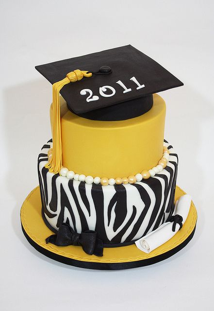 graduation cakes pictures | zebra graduation cake for a 2011 graduate butter vanilla cakes with ...