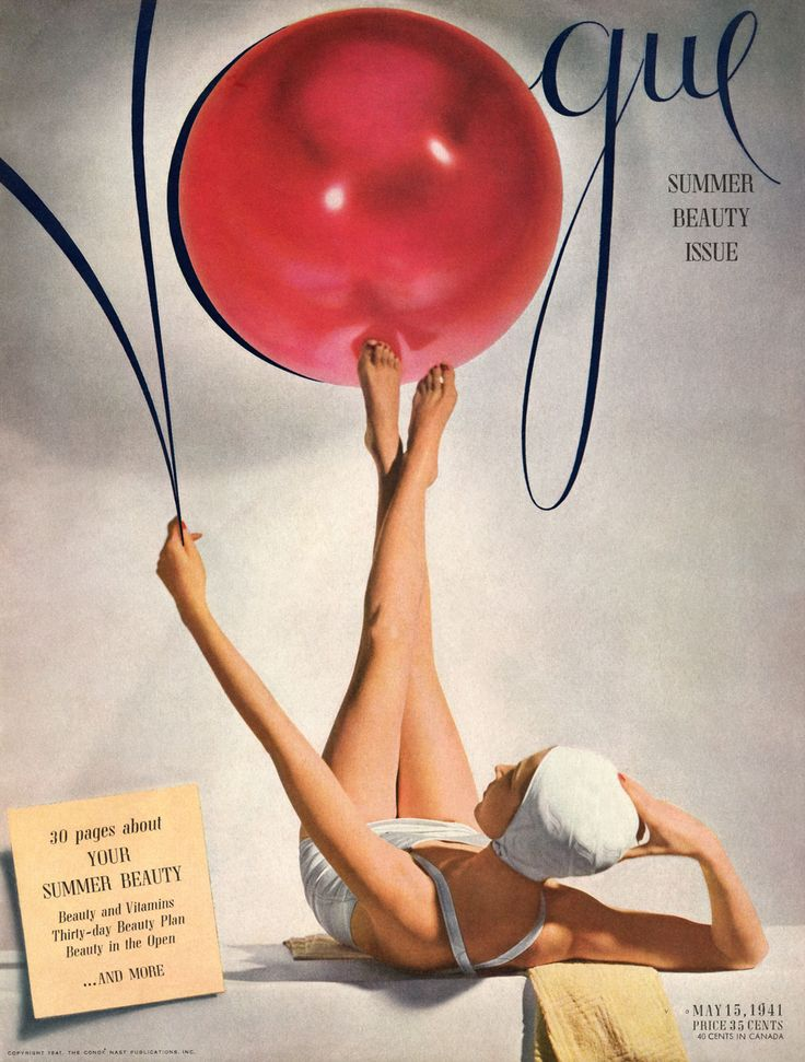 Cover of Vogue (May 15, 1941) designed by Alexander Liberman with photograph by Horst P. Horst.=