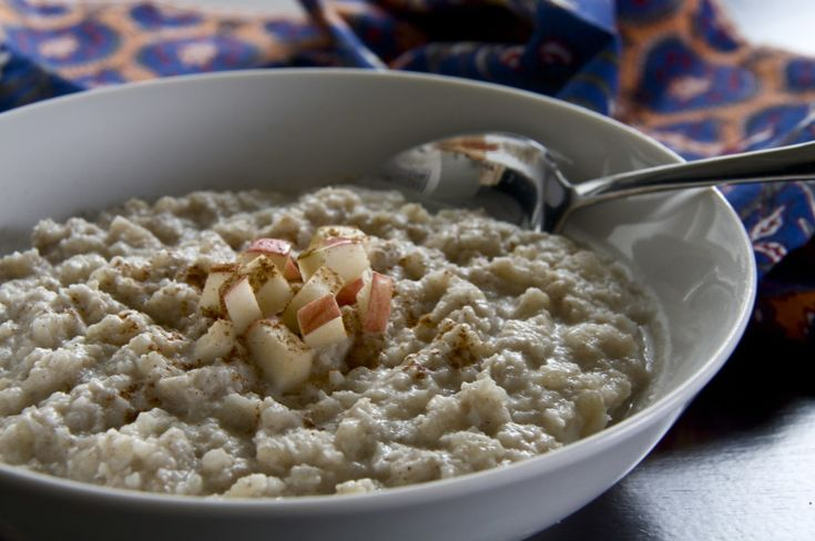 He won't know it's paleo:  Breakfast porridge made with cauliflower, coconut, apple and cinnamon, chopped dates, vanilla.