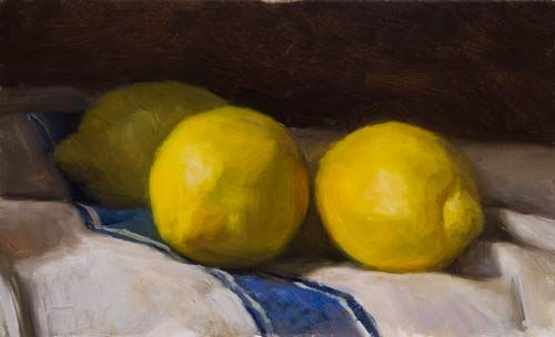 daily painting titled Three Lemons on a French Cloth - click for enlargement