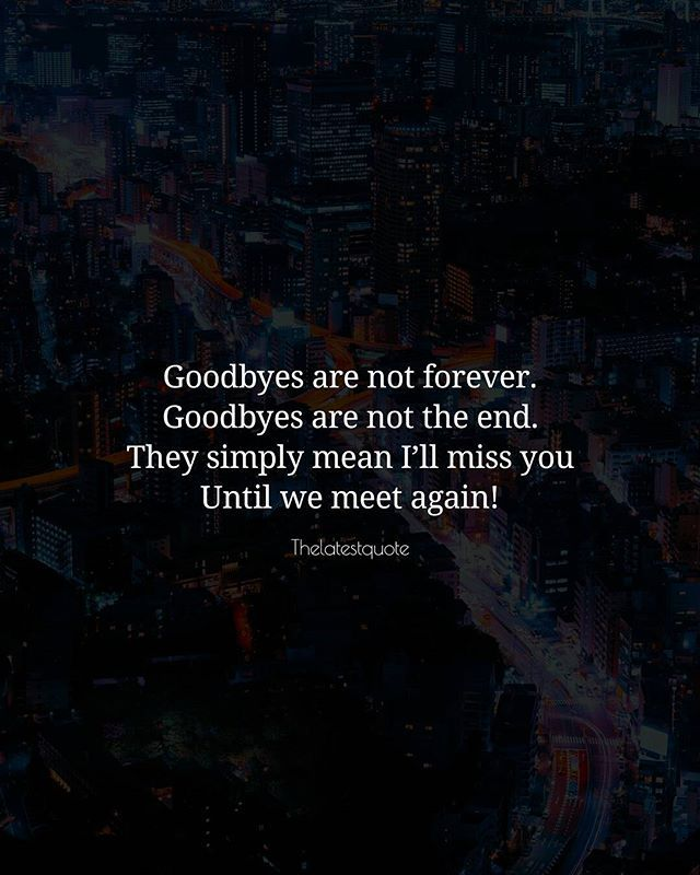 Goodbyes are not forever. Goodbyes are not the end. They simply mean Ill miss you Until we meet again! . . #quotes