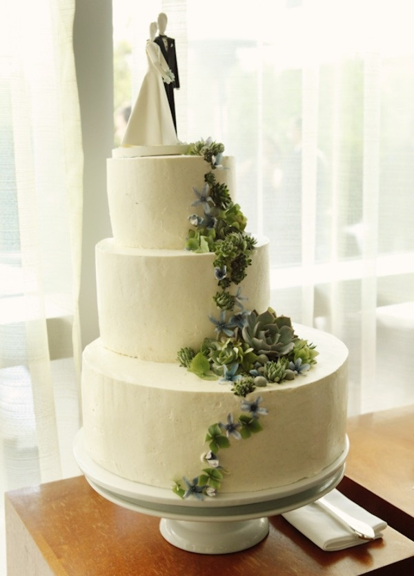 "Ooh so pretty. Asymmetrical buttercream wedding cake from ""Style Me Pretty."" I"
