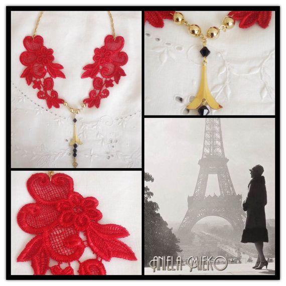 Red Lace necklace  vintage pendant necklace  Eiffel by AnielaMieko. SAVE 10% discount on my shop; Etsy Code: PINTEREST16 #vintagejewelry #bijouxvintage #bijouxvintagemtl #mtldesigner #montrealmode #montrealfashion #IloveParis #Parisnecklace #Eiffeltowerpendant #redlacenecklace #handemadejewelry #love #valentinegift  #valentineday #giftforher #statementgift