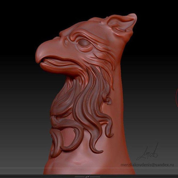 3д модель грифона, птицы для печати и чпу