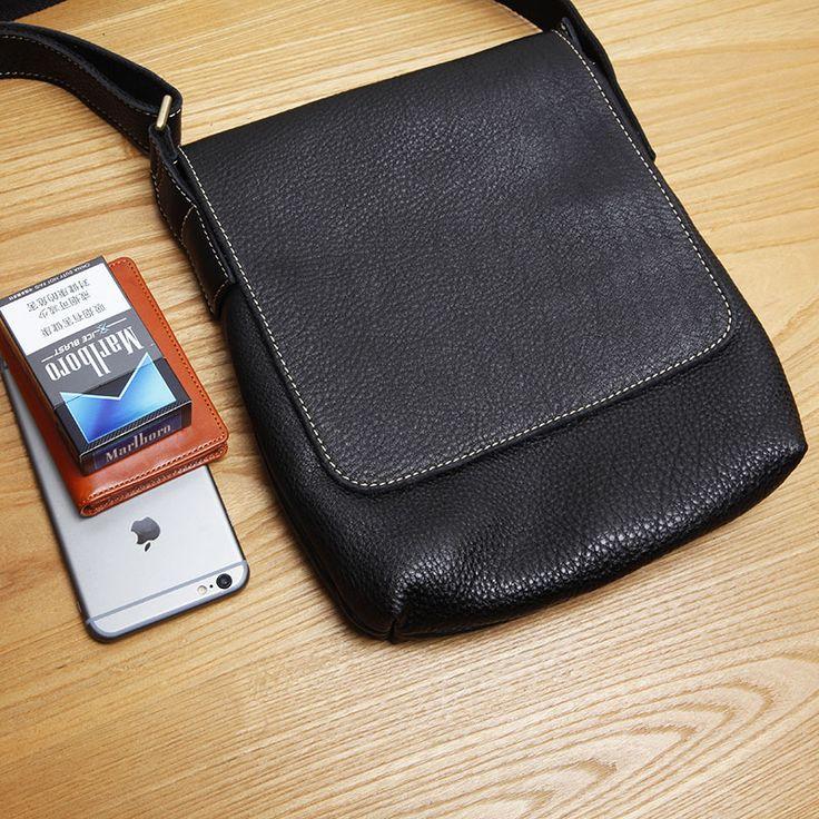 LANSPACE men's leather crossbody bag small men bag fashion single shoulder bag