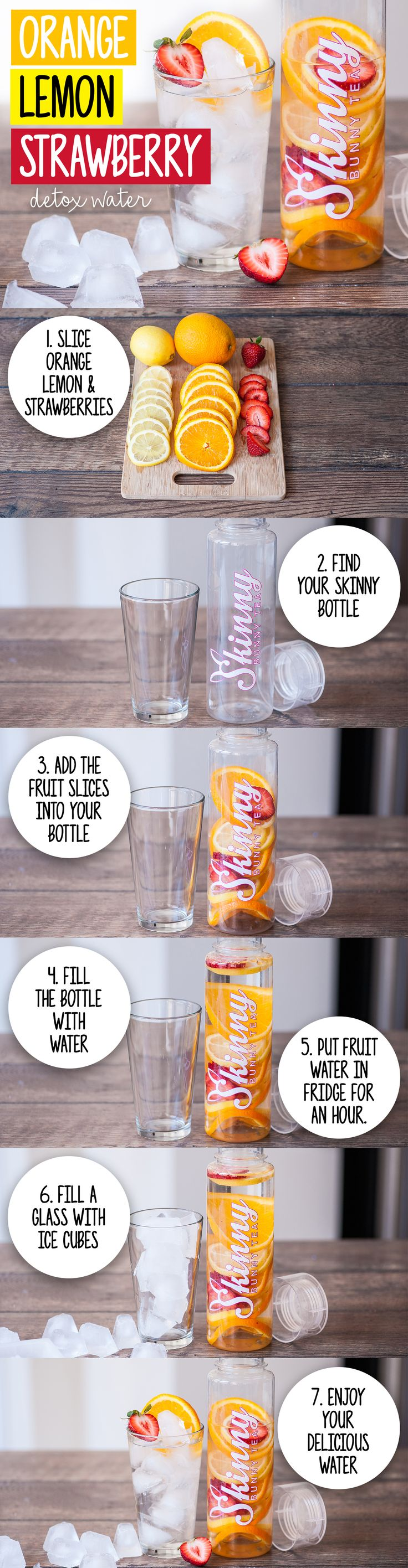 Cool off with this simple yet refreshing Orange Lemon Strawberry Detox Water recipe!! #Skinny #Detox #Fruit