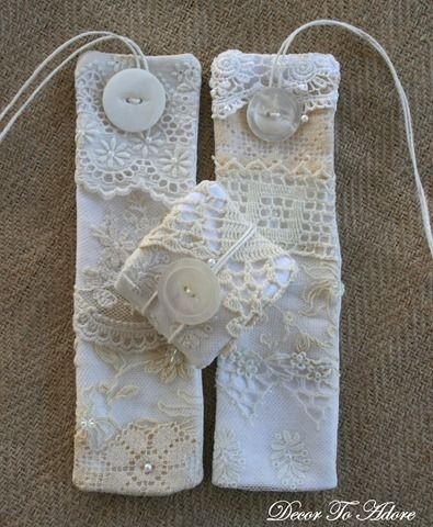 Lace Napkin Rings - great use for all Grandma's old handmade lace pillow cases that are falling apart.