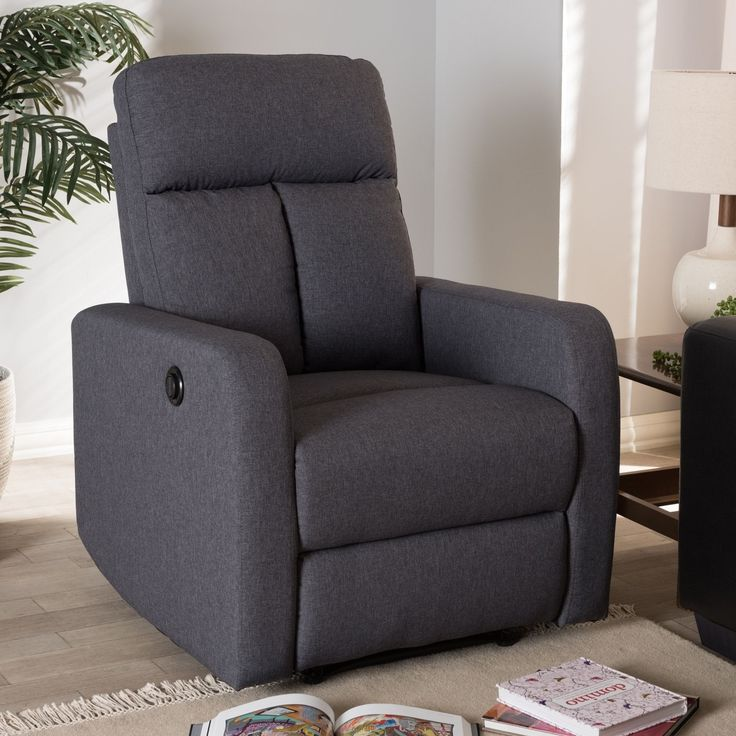 Contemporary Fabric Power Recliner Armchair by Baxton Studio (Brown), Size Small