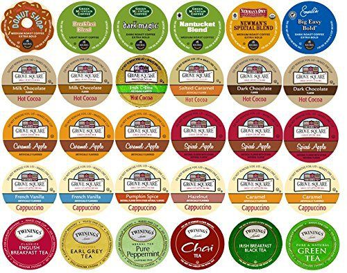 30-count K-cup Variety Pack for Keurig Brewers including Coffee, Cocoa, Tea & Cappuccino Featuring Green Mountain, Coffee People, Newman's Organics, Emerils, Grove Square, & Twinings. - http://teacoffeestore.com/30-count-k-cup-variety-pack-for-keurig-brewers-including-coffee-cocoa-tea-cappuccino-featuring-green-mountain-coffee-people-newmans-organics-emerils-grove-square-twinings/
