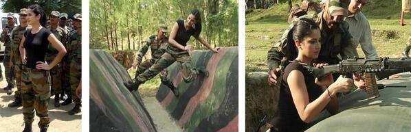 Katrina visiting the army jawans at Naushera, 130 kms from Jammu