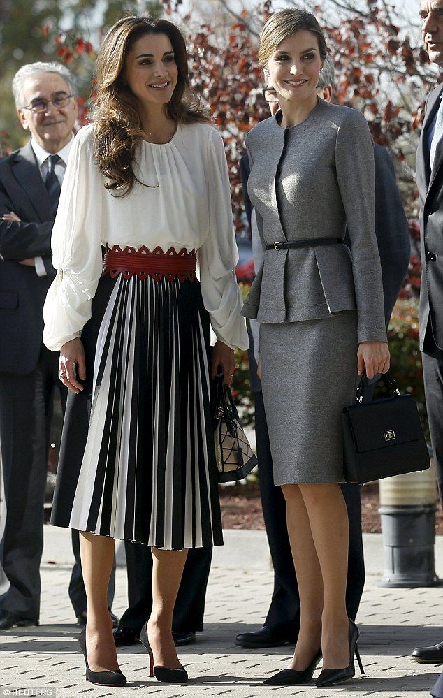Queen Rania of Jordan (left), 45, and Letizia of Spain (right), 43, went for contrasting looks for their meeting at entre of Molecular Biology at Autonoma University in Madrid