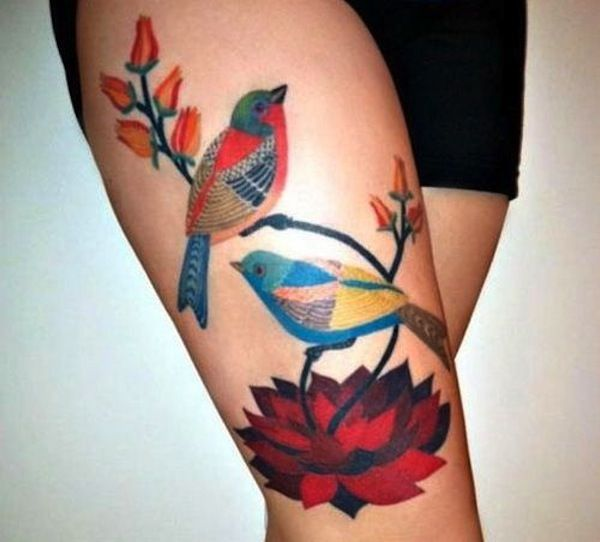 Http Tattoo Ideas Us Bird Flowers Back Tattoo: 1000+ Images About Secret Thigh Tattoos On Pinterest
