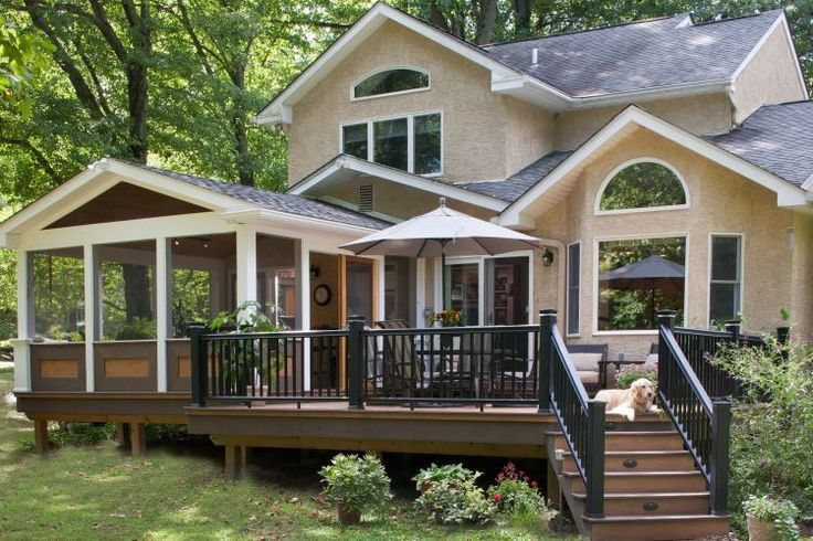 Beautiful screened in deck with extended open deck area too.  Notice the gable roof, kneewall rails, metal rails and deck step riser lights.