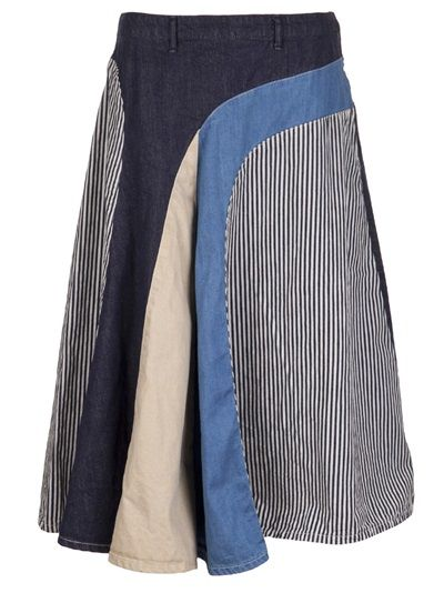 Not an upcycled piece, but has good ideas. KAPITAL Patchwork Skirt