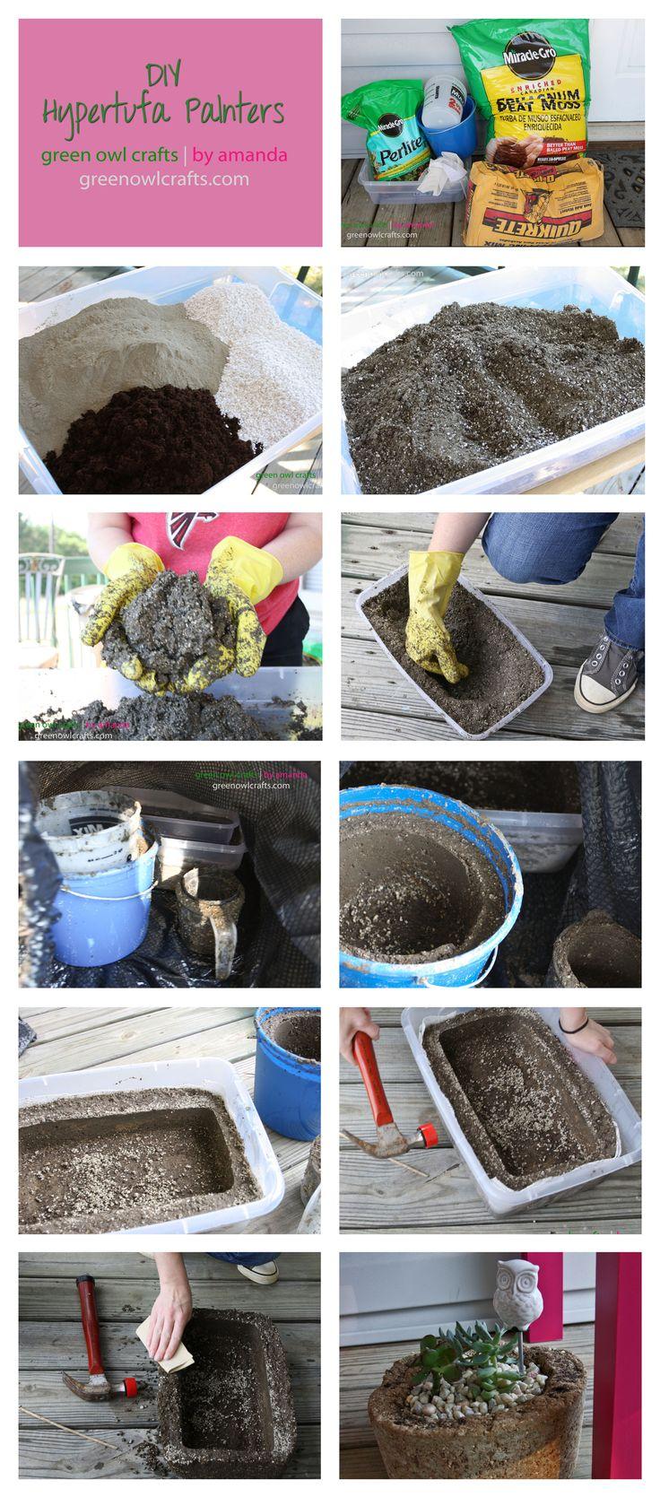 DIY Hypertufa Planters--this is a good beginner tutorial by a beginner.