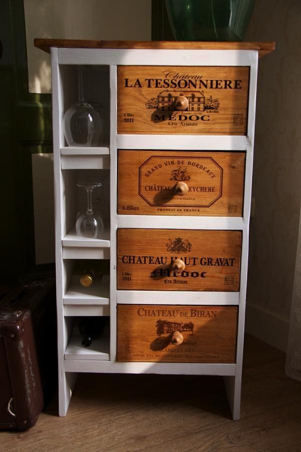Wijnkastje van franse wijnkistjes   Wendz
