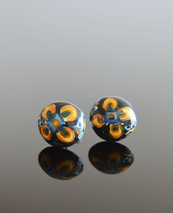 Ceramic Bead Earrings Hand Painted Earrings Beaded Earrings Ceramic Jewelry Handmade Earrings Flower Earrings Boho Earrings Gifts For Her