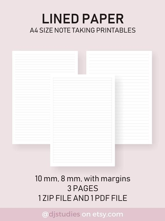 Lined Paper A4 Size Notetaking Printables 10 Mm 8 Mm With