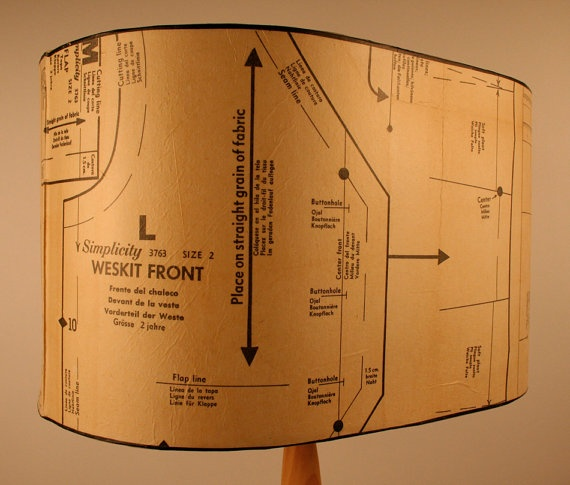 LARGE 1950's Sewing Pattern lamp shade Upcycled by patturn on Etsy, $130.00