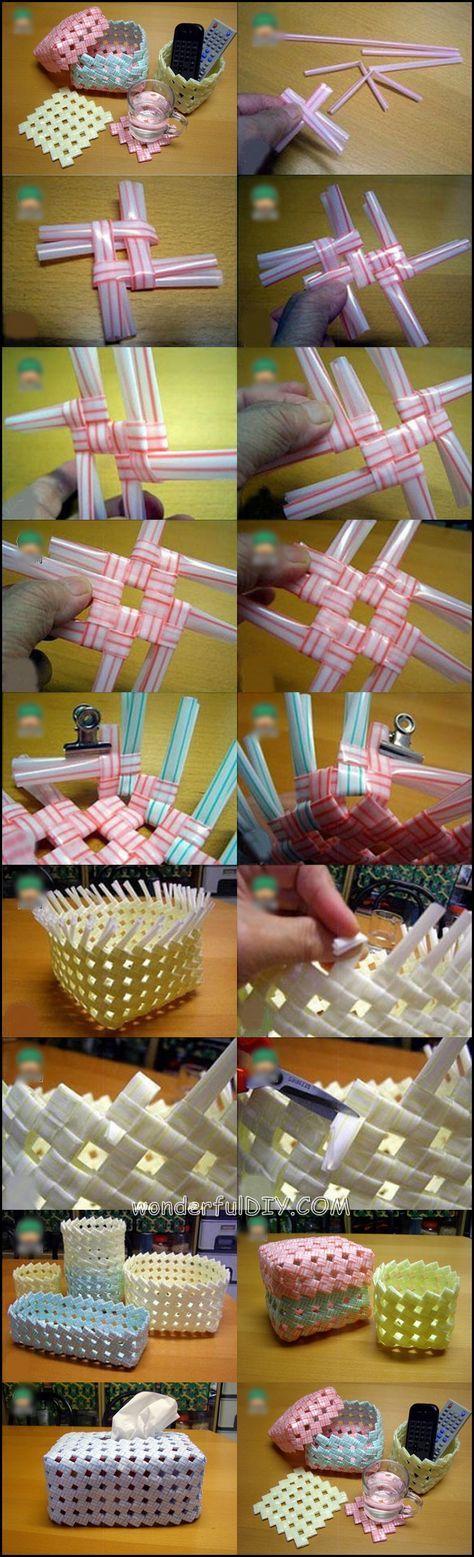 cesta de la paja de beber mw maravillosa bebida creativo DIY Straw Basket