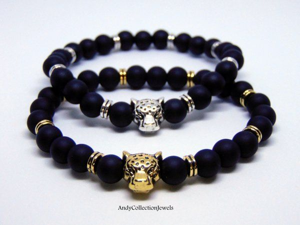 Men's Black Matte Agate Wristband with Gold-Tone or Silver-Tone Leopar Head and metal spacers