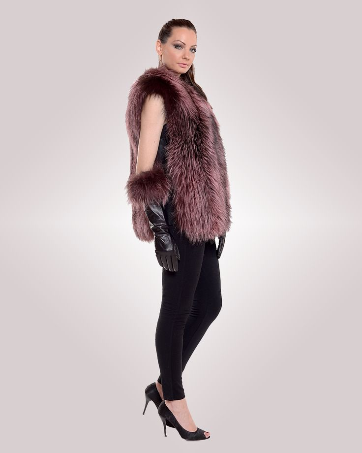 Bold and beautiful, this edgy pink fox vest will make you feel unique.