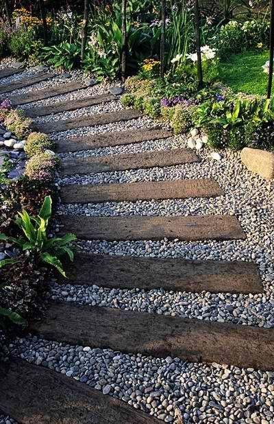 Pad uit houte planken en grind. Artiest: Onbekend Bron: KB Home.http://www.kbhome.com/ Zoekterm: #Pad #hout #grind #tuin