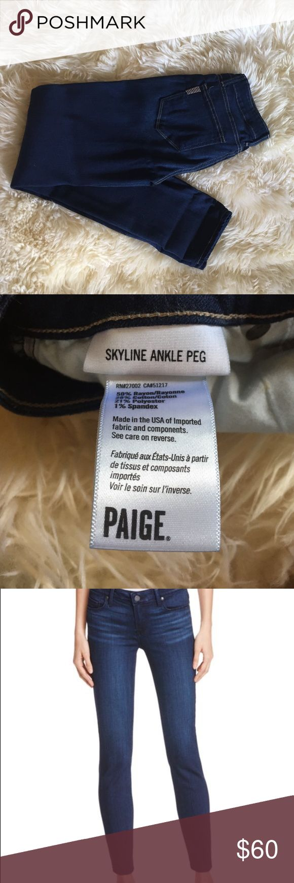 Paige Skyline Ankle Peg Denim Size 25, great condition, only worn a handful of times. 50% rayon, 42% cotton, 2% spandex, light stretch to them. Like new. I stand behind the quality of all my gently used items for sale. Bundle to save on shipping and for bundle discounts! Thank you for looking! Paige Jeans Jeans