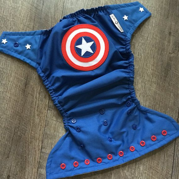 Captain America Cloth Diaper Cover Pocket or by TheAlbinoSquirrel