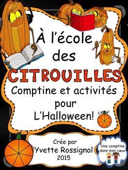 """Pour L'Halloween! Comptine et activités de lecture et d""""écriture ...Drôles de citrouilles!!"""