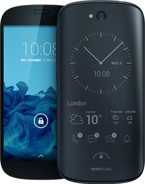 YotaPhone 2 - Yota Devices • Dual-screen phone with an LCD screen on one side and an e-ink one on the other.