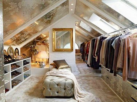 lovely attic dresing room with metallic papered ceilng