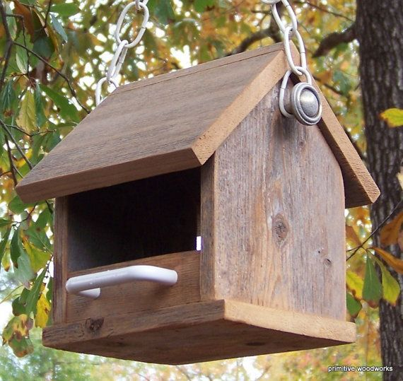 Bird Feeder Wooden Rustic Recycled Natural by PrimitiveWoodworks