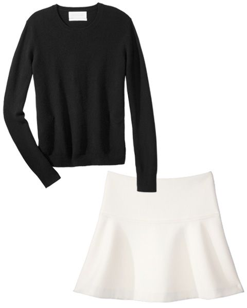 Get Kate Moss' Killer 1990s Style: Pair uncomplicated streamlined basics, such as a black cashmere crewneck and an optic white A-line mini, for striking simplicity. Try an Everlane cashmere pullover ($120; everlane.com) and pair it with the Milly bonded crêpe skirt ($225; millyny.com). #InStyle