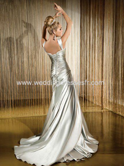 2011 A-ligne-bretelles robe de mariée argentée en satin avec traîne Chapelle - €128.04 : WeddingDressesFR.com, Acheter des robes de mariée, ...