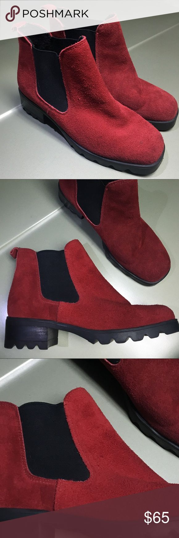 Red Suede Boots Bardo Red Suede Boots / Made in Canada 🇨🇦 / Beautiful leather / Minimal wear & tear / pair me with Vintage Levi's rolled up / Anthropologie Shoes Ankle Boots & Booties