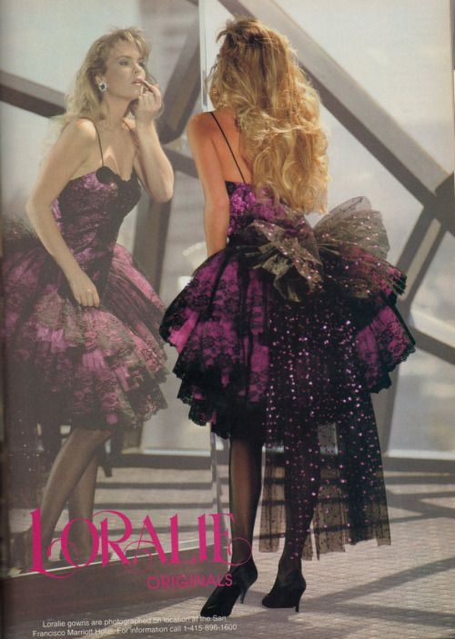 Eighties Prom Dress with Lace Gloves – fashion dresses