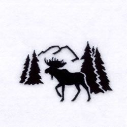 Scenes Embroidery Design: Moose Silhouette Scene from Starbird Inc