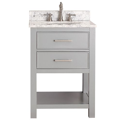 avanity brooks chilled gray 24inch vanity combo with carrera white marble top