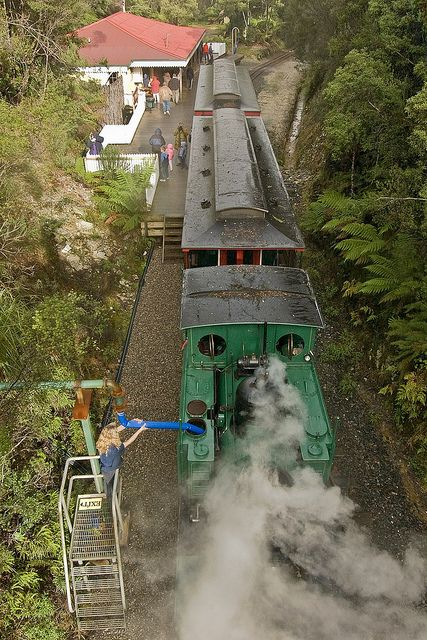 Number 3 has stopped at Rinadeena for water. West Coast Wilderness Railway, Tasmania, 1st June 2005. | Flickr - Photo Sharing!
